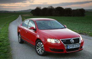 The Passat Bluemotion, in red, obviously